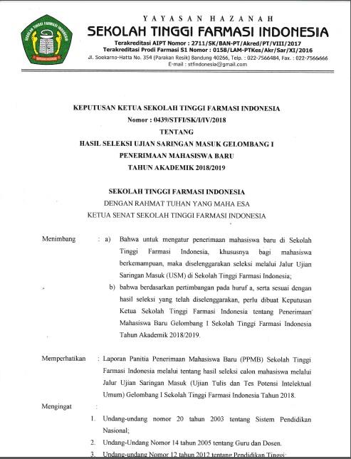 Pengumuman Kelulusan Ujian Saringan Masuk Gelombang I T.A 2018-2019