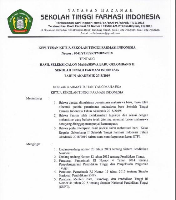 Pengumuman Kelulusan Ujian Saringan Masuk Gelombang II T.A 2018-2019