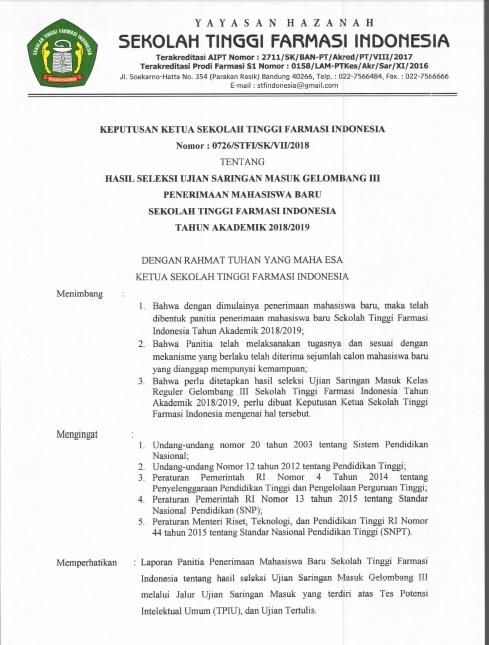 Pengumuman Kelulusan Ujian Saringan Masuk Gelombang 3 T.A 2018-2019