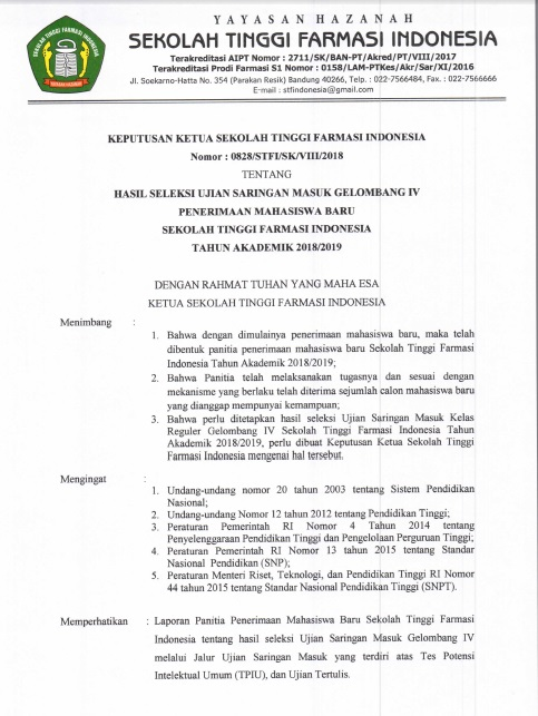 Pengumuman Kelulusan Ujian Saringan Masuk Gelombang IV T.A 2018-2019